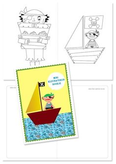 Printable mini coloring books for favor bags - pirate party