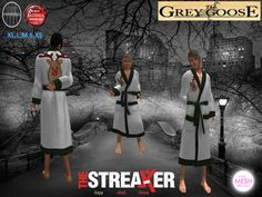 (WEAR ME) The Streaker Mens Robe (Reindeer Green Check) secondlife, sl, avatar, men, robes,robe,christmas,xmas,holiday