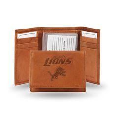 Detroit Lions NFL Tri-Fold Wallet (Pecan Cowhide)