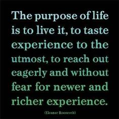 purpose of life, taste richer experiences by reaching for the new.