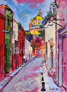 Mexican mountain town small town architecture  San by CristiFerArt, $110.00