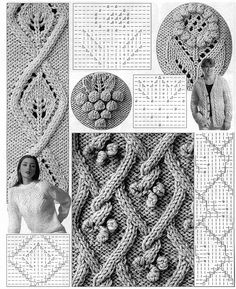 Tutorial for crochet, knitting. Cable Knitting Patterns, Knitting Stiches, Knitting Charts, Lace Knitting, Knit Crochet, Lace Patterns, Stitch Patterns, Crochet Patterns, Knitted Flowers
