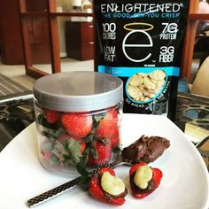 Sweet or salty? Get the best of both flavors with a snack we love! Strawberries cocoa spread  and an enlightened sea salt crisp. Say happy weekend to your tastebuds and give it a try!   #protein #healthy #snackattack #delicious #love #iifym #flexibledieting #workout #muscle #fitfam #built #eatcleantraindirty #train #workout #eatenlightened #exercise #yum! #munchies #motivation #healthysnacking #getinmybelly #foodie #food #snacktime #fitlife #crisps #fitfood