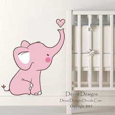 Baby Pink Elephant Printed Fabric Repositionable Wall Decal Sticker