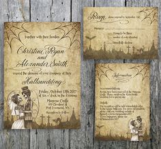 Halloween wedding invitation with skeleton bride and groom. The Halloween invitation is designed with spiderwebs and a graveyard over a grunge background. Perfect for your Hallowedding! By LangDesignShop via Etsy