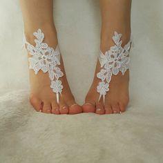sandalias de nieve blanco buque libre playa boda por BarefootShop