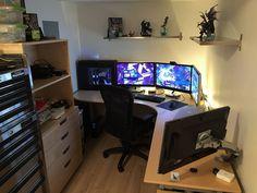 My BattleStation Pc Gaming Desk, Gaming Room Setup, Computer Setup, Office Setup, Pc Setup, Desk Setup, Home Office Design, House Design, Design Room