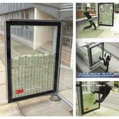 Bullet Proof window ad: try to break it to get the 3 million dollars inside. #advertising