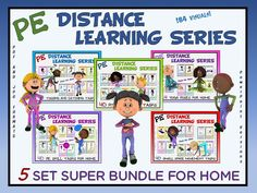 PE Distance Learning Series Fitness, Skill and Movement Task Visuals for Students at Home ON SALE THIS WEEK!! Physical Education Lesson Plans, Elementary Physical Education, Elementary Pe, Pe Activities, Team Building Activities, Physical Activities, Movement Activities, Pe Lessons, School Lessons