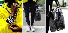Street Etiquette #rainslicker #stripes #nautical #bag #men #fashion #streetstyle