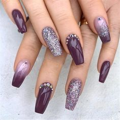 Elegant Purple Glitter Coffin Nails Inspirations +Tips , coffin Elegant Glitter Insp. : Elegant Purple Glitter Coffin Nails Inspirations +Tips , coffin Elegant Glitter Inspirations nails prettynail Purple Tips Elegant Purple Glitter Cuffin Nails, Glitter Nails, Cute Nails, Pretty Nails, Purple Glitter, Fall Nails, Summer Nails, Dark Purple Nails, Glitter Outfit