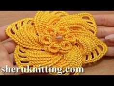 ▶ Crochet 6-Petal Flower Spirals In Center Tutorial 59 Part 1 of 2 - YouTube