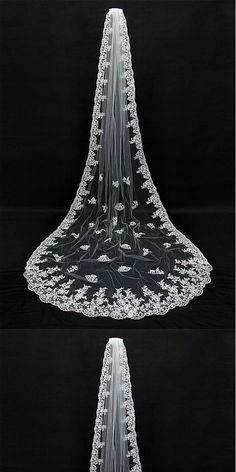 Gorgeous Tulle Long Wedding Veil With Lace Appliques,WV0129#Wedding Veil#