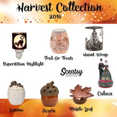 "Scentsy ""Harvest"" wax warmer collection for 2016  Available Sept 1  https://twheeldon.scentsy.us #fall #autumn #halloween…"