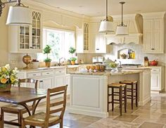 Our Best Before-and-After Kitchens - Traditional Home®  Like it...panels in doors, molding at top.  vent ok