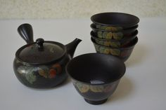 Japanese teapot and 5 cups, ceramic kyusu set, stamped by StyledinJapan on Etsy
