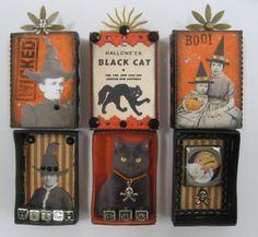 Halloween matchbox shrines - no instructions but easily enough duplicated Retro Halloween, Holidays Halloween, Halloween Crafts, Halloween Decorations, Halloween Displays, Halloween Stuff, Matchbox Crafts, Matchbox Art, Altered Tins