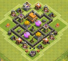Best Town Hall 4 War, Farming and Hybrid Bases Anti Giants These base designs can defend giants archer and barbarians with ease. Clash Of Clans Th4, Clsh Of Clans, Clash Of Clans Android, Clash Of Clans Account, Town Hall 4, Trophy Base, Cars 2 Games, Free Gems, Pokemon Games