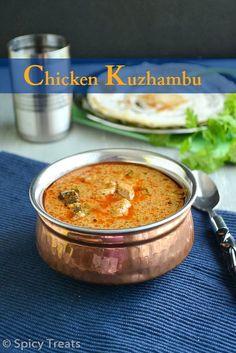 spicy and flavorful chicken/kozhi kuzhambu, authentic Tamil Nadu style chicken kuzhambu.