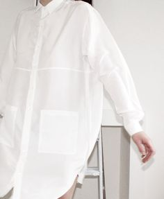 Minimal + Classic: Hannah Sager Forsberg - White oversized shirt dress w/ large patch pockets