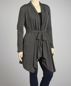 Look at this Charcoal Tie-Waist Open Cardigan - Plus on #zulily today!