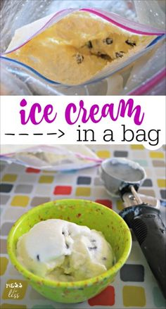 Just tried making homemade ice cream in a bag with my kids. So fun and easy to make and the chocolate chip ice cream was delicious!