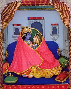"arjuna-vallabha: ""Radha Krishna in the winter by B.G. Sharma """
