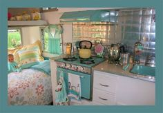 Glamping - aqua themed camper interior. I love this vintage look!!!