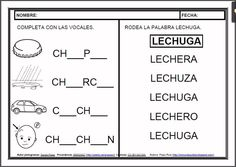 MATERIALES - Fichas de lectoescritura - CH.    Fichas para el aprendizaje de la lectoescritura en letra mayúscula.    http://arasaac.org/materiales.php?id_material=983