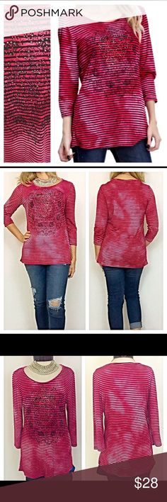 "Fabulous Tribal Sparkly Studded Tee Top M/L L/XL Super fabulous fuschia & black striped 3/4 sleeve tee/top embellished with multicolored gems/studs atop a Tribal design. Stretchy 95% rayon / 5% spandex blend. Runs a little small & very flattering!  Measurements Laying Flat: Medium/Large (Marked Large) Chest 18"" Length 26""  Large/XL (Marked XL) Chest 19"" Length 27"" Tops Tees - Long Sleeve"