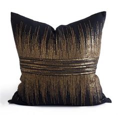 Hand embroidered pillows in linen and silk are sumptuously oversized and generously filled with down and feathers - tossed on a bed or a gathered on a sofa, create a lasting personal touch. Black Throw Pillows, Gold Pillows, Couch Pillows, Accent Pillows, Patio Pillows, Custom Pillows, Decorative Pillows, Bliss Home And Design, Bedding