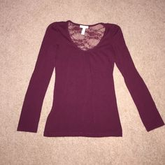 Long Sleeve Cranberry Top with Lace Back Never worn, like new condition! Jewel neckline, lace back cutout (pictured) and cranberry color! Simple shirt that will look great for any occasion. Size medium. Ambiance Apparel Tops Tees - Long Sleeve