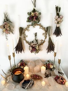 Uploaded by Vivid Void. Find images and videos about candles, crystals and wicca on We Heart It - the app to get lost in what you love. Autel Wiccan, Wiccan Decor, Pagan Altar, Pagan Witch, Witchcraft, Magick Book, Witch Room, Witch Cottage, Baby Witch