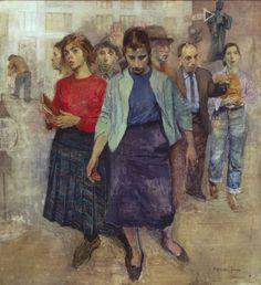 """cavetocanvas: """" Raphael Soyer, Farewell to Lincoln Square, 1959 """" Raphael Soyer (December 1899 – November was a Russian-born American painter, draftsman, and printmaker. Soyer was. American Realism, American Artists, Painting People, Figure Painting, Painter Artist, Vintage Artwork, Magazine Art, Contemporary Paintings, Figurative Art"""