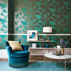 Harlequin Extravagance Wallpaper | Designer Wallpapers 2017 | TM Interiors Limited Extravagance boasts a silhouetted fern design with a sleek two-tone effect. From the Lucero collection, the wallpaper holds hints of glitter which adds instant glamour. Extravagance 111715 Glimmer Gold by Harlequin wallpaper