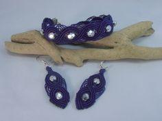 parure bracelet et boucles d'oreille micro macramé persian indigo : Parure par les-creations-du-sud