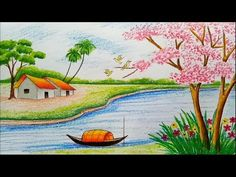 How to draw landscape / scenery of spring season with oil pastels color step by step Beautiful Scenery Drawing, Scenery Drawing For Kids, Art Drawings For Kids, Easy Drawings, Crayon Drawings, Oil Pastel Drawings, Colorful Drawings, Landscape Drawings, Landscape Paintings