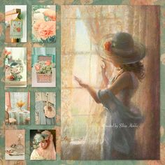 by Silvia Hokke Colour Board, Color Themes, Vintage Images, Mood Boards, Decoupage, Colours, Peach, Mint, Miniature Tutorials