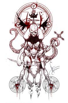 Tattoo Sketches, Tattoo Drawings, Art Sketches, Demon Tattoo, Dark Tattoo, Tatoo Art, Body Art Tattoos, Totenkopf Tattoos, Satanic Art