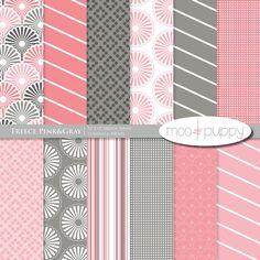 Digital Scrapbooking Paper    Treece Pink&Gray   by mooandpuppy  https://www.etsy.com/listing/155550146/digital-scrapbooking-paper-treece?ref=shop_home_active_11
