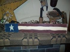 AMERICAN FLAG HORIZONTAL PRIMITIVE SIGN SIGNS