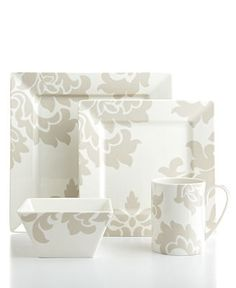 Martha Stewart Collection Lisbon Grey Square 4-Piece Place Setting - Casual Dinnerware - Dining & Entertaining - Macy's