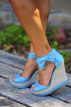blue bow Summer wedges!  http://www.pinterest.com/JessicaMpins/