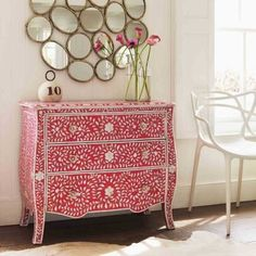 Floral Pink & Mother of Pearl Inlay Chest of Drawers - contemporary - dressers chests and bedroom armoires - - by Graham and Green