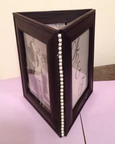 Diy Photo Centerpiece :  wedding centerpiece centerpieces diy frame frames inspiration ivory pearl pearls photo pictures purple reception IMG 0815