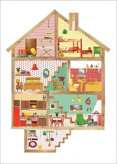 Dollhouse poster by Petit Konijn www. Pink Wallpaper Barbie, Pink Wallpaper Iphone, Tumblr Wallpaper, Wallpaper Backgrounds, Family Illustration, House Illustration, Illustrations, Paper Doll House, Paper Houses