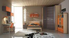 Charming and Calming Grey-Orange Teen's Bedroom Design Ideas