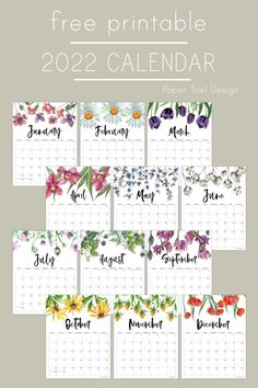 Print this free monthly 2022 calendar with a floral design for each month of the year for a fun and stylish calendar for 2022. Free Printable Calendar Templates, Printable Planner Pages, Free Printables, Paper Trail, Months In A Year, Weekly Planner, Junk Journal, Planners, Floral Design