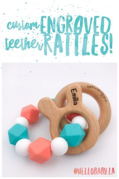Engraved personalized and customized animal teether rattle choose perfect baby shower gift engraved and custom baby teether rattle personalized with baby name negle Choice Image