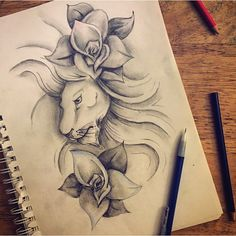 #mulpix Tattoo design for I did @mckinna_davis #art #drawing #sketch #tattoo #sleeve #lion #flower #floral #design #painting #doodle #sketchbook